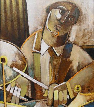 Oil painting Geoffrey Key Drummer