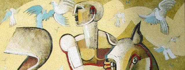 Oil painting Geoffrey Key Rider with bird