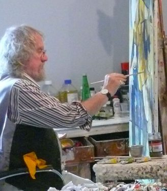 Painting at easel