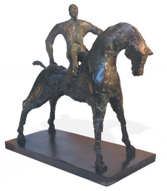 Horse sculpture with rider