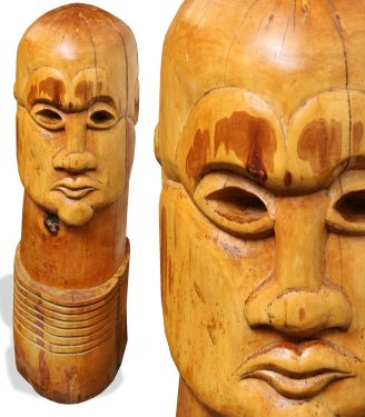 Totem head sculpture