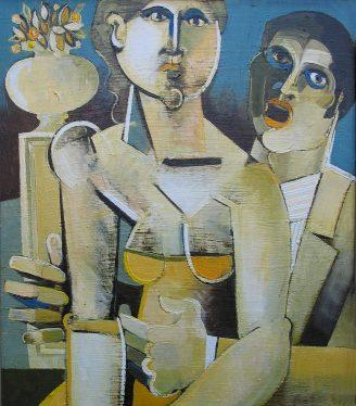 Oil painting Geoffrey Key Garden singer