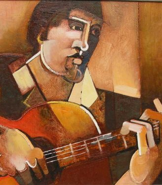 Oil painting Geoffrey Key The guitarist