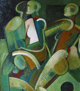 Oil painting Geoffrey Key Football art