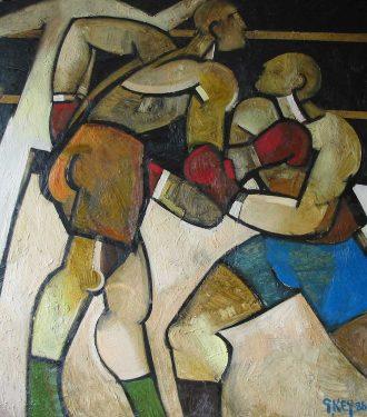 Oil painting Geoffrey Key Boxers