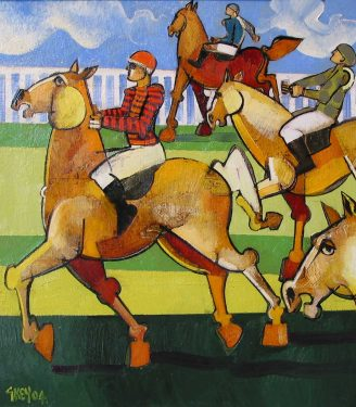 Oil painting Geoffrey Key Race day