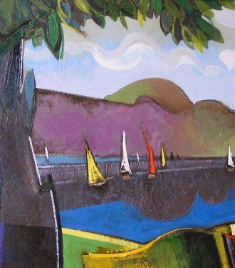 Oil painting Geoffrey Key Bala Lake