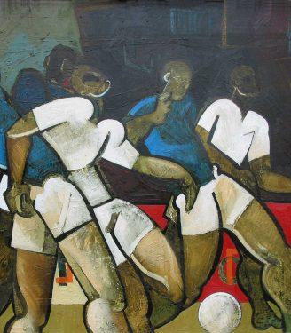 Oil painting Geoffrey Key Football