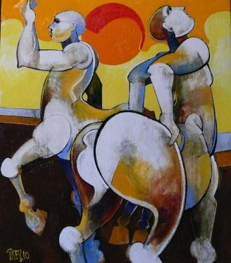 Oil painting Geoffrey Key Centaurs