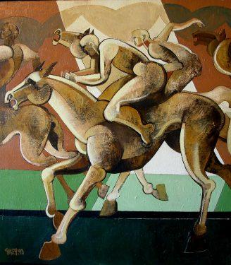 Oil painting Geoffrey Key Race