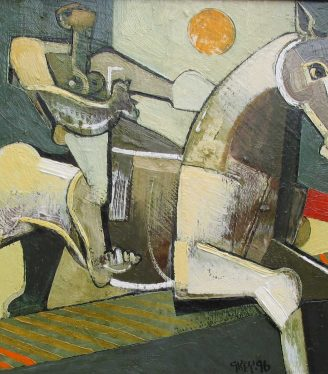 Oil painting Geoffrey Key Moon Jump