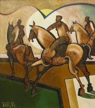 Oil painting Geoffrey Key Moon Meeting